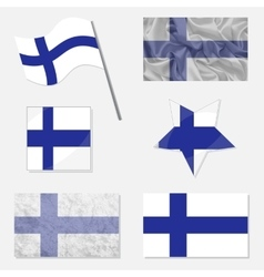 Set with flags of finland vector