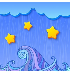 Shaded decoration with cloud and stars vector