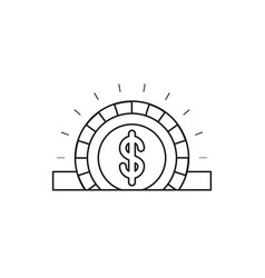 Silhouette closeup flat coin with dollar symbol vector