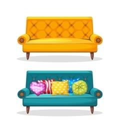 Sofa soft colorful homemade set 7 vector