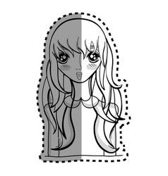 Sticker anime nice surprised woman vector