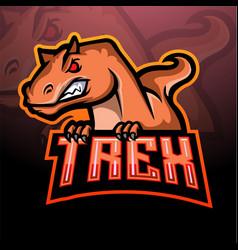 T-rex mascot esport logo design vector