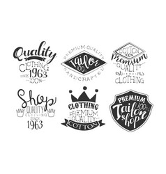 Tailor shop premium retro labels set shop quality vector
