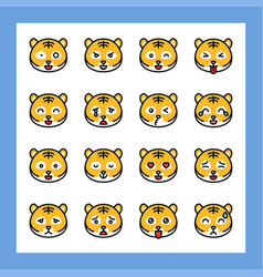 Tiger emoticon set filled style editable stroke vector