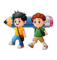 Two boy cartoon holding a large pencil vector