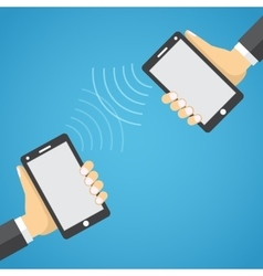 Two mobile devices connected together vector image
