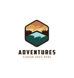 vintage emblem mountain landscape adventure logo vector image