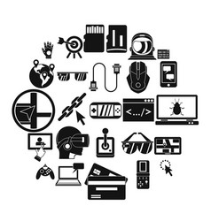 vr icons set simple style vector image