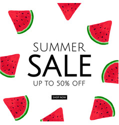Watermelon summer sale poster vector
