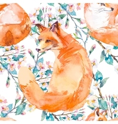 Wildlife pattern Fox and flowering branches vector image