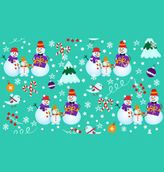 Winter pattern with snowmen tree and gifts vector
