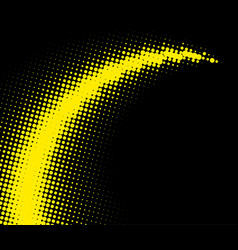 Yellow dotted halftone whirl pattern on black vector