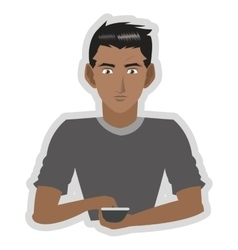 Young man with cellphone icon vector