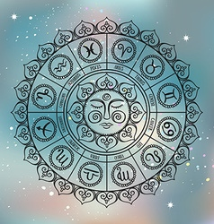 Zodiac circle with horoscope signsHand drawn vector image