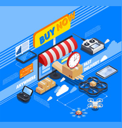delivery by drones isometric composition vector image vector image