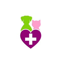 dog cat pet medical love logo vector image vector image