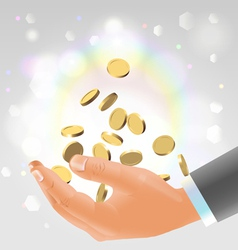 Golden coins falling into male hand vector image vector image