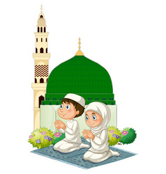 two muslim kids praying at mosque vector image