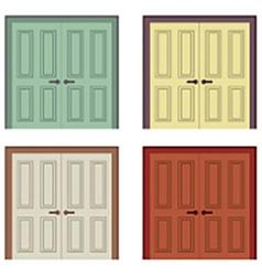 Flat Design Wooden Double Doors vector image