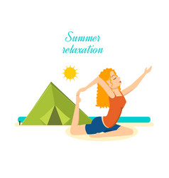 Girl relaxes restores power to the beach summer vector