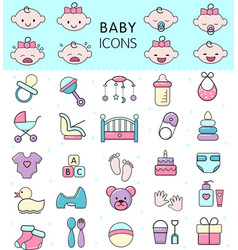baby icons kids toy for infant boys or vector image