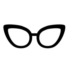 black icon glasses cartoon vector image vector image