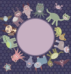 Card for your text in circle funny cute dinosaur vector