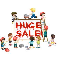 children painting word huge sale on board vector image vector image