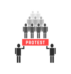 crowd of protesters people vector image