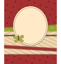 red frame with butterfly vector image vector image