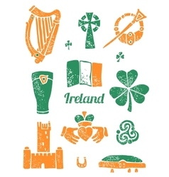 Symbol of Ireland set in lino style vector image vector image