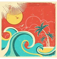 Vintage tropical poster vector image vector image