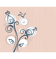 floral background with cartoon birds vector image vector image