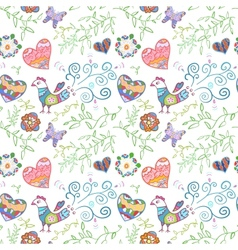 Floral seamless pattern with flowers bird hearts vector image vector image