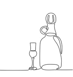 grappa bottle and glass isolated vector image vector image