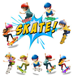 many kids playing skate vector image
