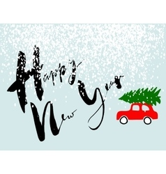 Red car carries christmas spruce happy new year vector