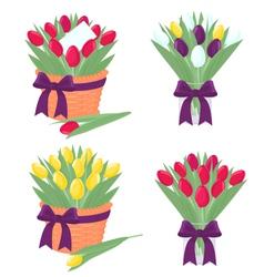 Tulip bouquet vector image
