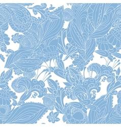 Vintage blue floral seamless pattern vector image vector image