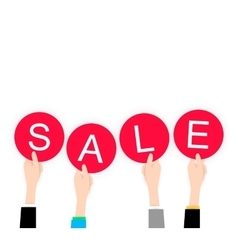 White flat Hands holding sale lable black friday vector image vector image