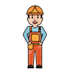 worker man construction standing character vector image