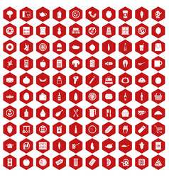 100 lunch icons hexagon red vector image