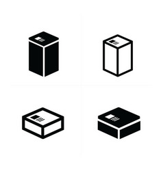 4 style box icons set vector