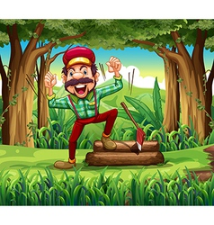 A forest with a happy lumberjack vector image