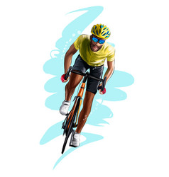 Abstract cyclist on a race track from splash vector