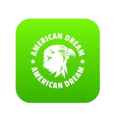 American dream eagle icon green vector