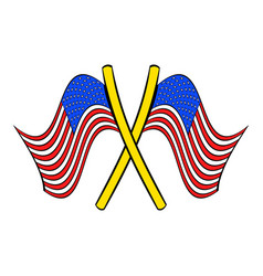 american flags icon cartoon vector image