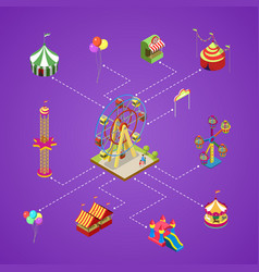 Amusement park infographic with isometric elements vector