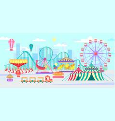 amusement park urban landscape with carousels vector image