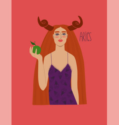 aries zodiac sign with girl vector image